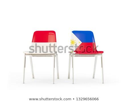 два стульев флагами Индонезия Филиппины изолированный Сток-фото © MikhailMishchenko