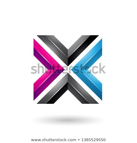 blue black and magenta square shaped letter x vector illustratio stock photo © cidepix