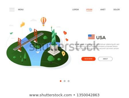 színes · USA · térkép · vektor · háttér · utazás - stock fotó © decorwithme
