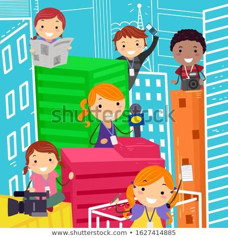 Stickman Kids Building Paper Illustration Stock photo © lenm