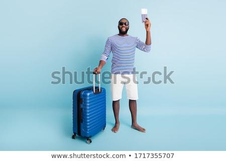 engraçado · homem · mala · isolado · branco · fundo - foto stock © elnur