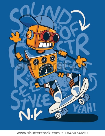robot on wheels cartoon comic character Stock photo © izakowski