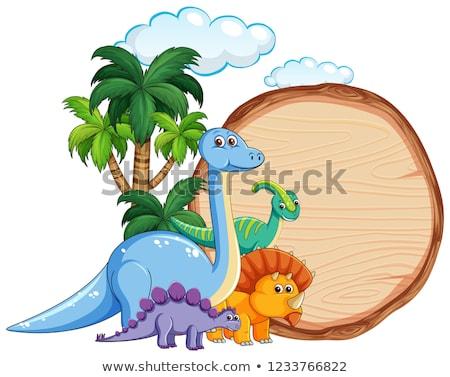 Many dinosaur on wooden banner Stock photo © colematt