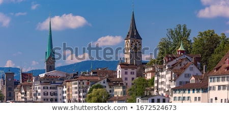 view of fraumunster and st peter church zurich stock photo © borisb17