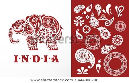 India - parsley patterned elephant, oriental Indian icon and illustration Stock photo © marish