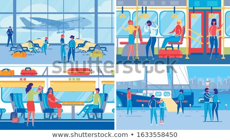 water transport various kinds of ships set vector foto stock © robuart