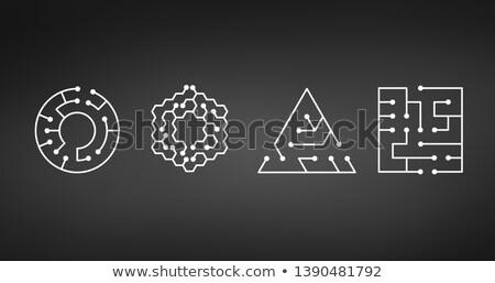 回路基板 アイコン 抽象的な サークル 迷路 ストックフォト © kyryloff
