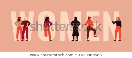 Women Standing Together, Smiling Girls Vector Stock photo © robuart