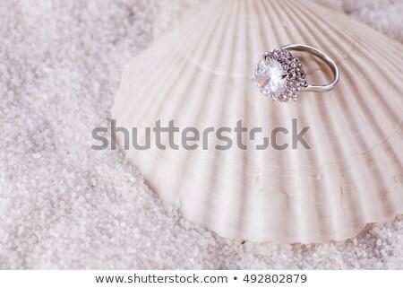 Perla anillo de compromiso Shell joyas presentación cuadro Foto stock © robuart