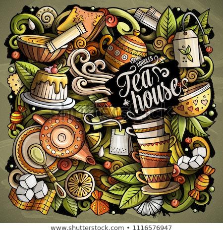 Cartoon doodles Tea illustration. Cafe funny picture Stock photo © balabolka