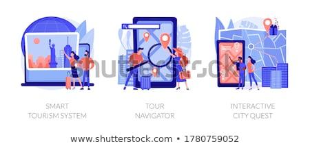 Városnézés turné vektor metafora tájékozódási pont látogatás Stock fotó © RAStudio
