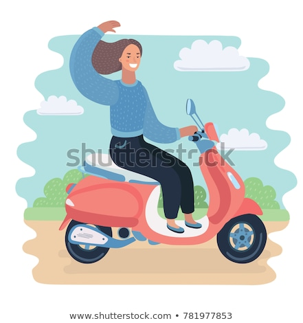 Funny young woman rides fast on the bike illustration Stock photo © tiKkraf69