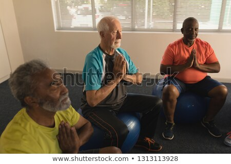 Side view of group of active senior men performing yoga doing ball exercice at home Stock photo © wavebreak_media