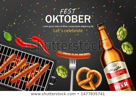 Beer, pretzel and grilled sausage Vector realistic. Food fest ba Stock photo © frimufilms