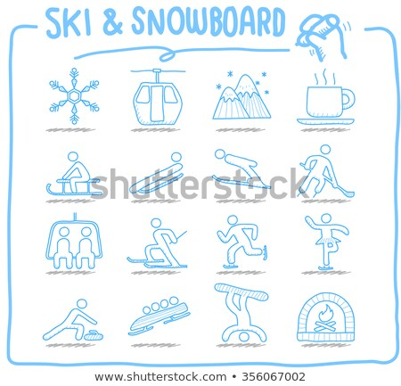 Winter sports hand drawn doodles illustration. Ski resort card design Stock photo © balabolka