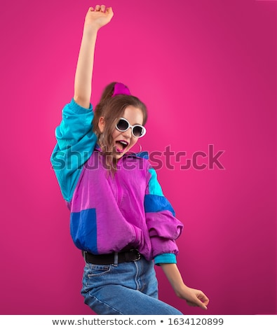 Fashion Teenager Girl in vintage sunglasses dances disco 80s 90s Stock photo © LoopAll