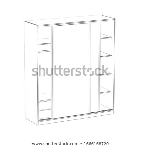 3D modell ruhásszekrény ajtók drótváz ajtó Stock fotó © magraphics