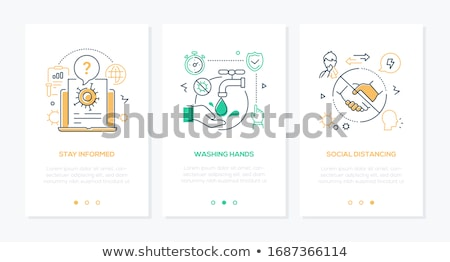 coronavirus protective measures   line design style banners stock photo © decorwithme