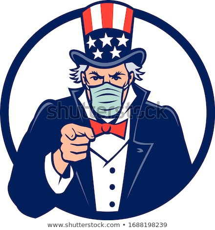 Uncle Sam Wearing Mask Pointing Mascot Stock photo © patrimonio
