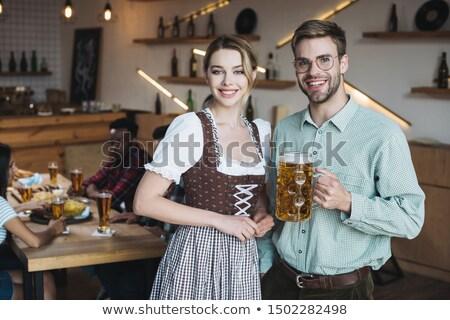 dos · feliz · ninas · cerveza · blanco · mujer - foto stock © rob_stark