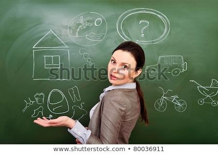 portret · jonge · vrouw · denken · plannen · groene - stockfoto © hasloo