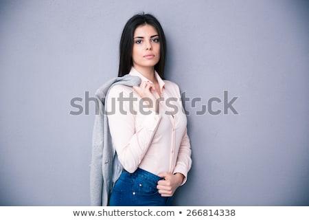 üzletasszony · tart · kabát · váll · nő · iroda - stock fotó © photography33