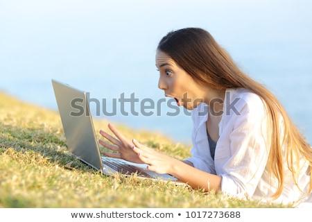 mulher · jovem · laptop · praia · computador · mulher · água - foto stock © photography33