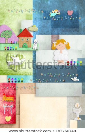 Pierwsza komunia zaproszenie przypomnienie cute dziewczyna Zdjęcia stock © marimorena