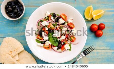 新鮮な カラフル サラダ 角度 混合した 白 ストックフォト © dbvirago