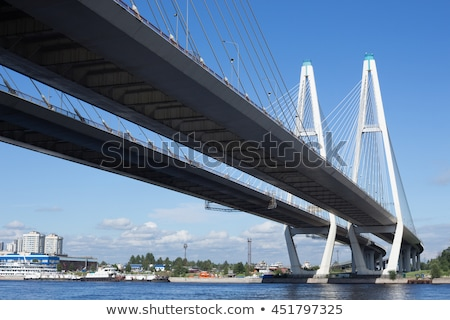 Nagy híd folyó építkezés tájkép kék Stock fotó © Roka