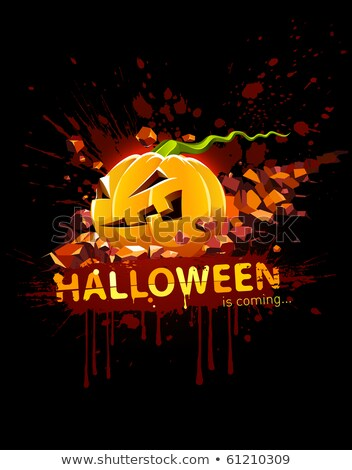 Zdjęcia stock: łonąca · Dynia · Halloween · Spada · W · Kamieniu