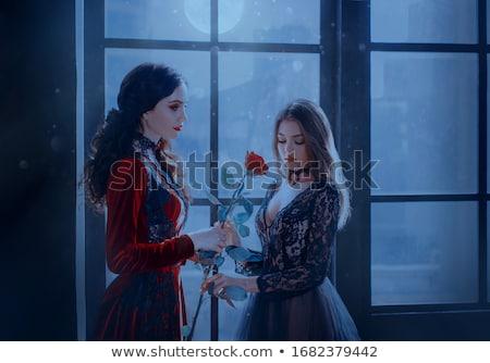 gyönyörű · gótikus · lány · fenséges · ruha · tart - stock fotó © ansy