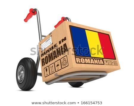 Romanya el kamyon bayrak slogan Stok fotoğraf © tashatuvango