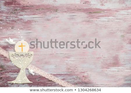 Pierwszy święty komunii karty dziewczyna różowy Zdjęcia stock © marimorena