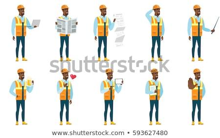 Bouwvakker borst veiligheidshelm Stockfoto © jackethead