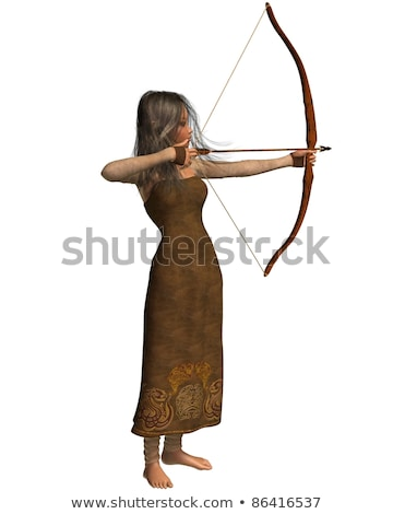 elf mythical girl shooting bow and arrow Stock photo © godfer