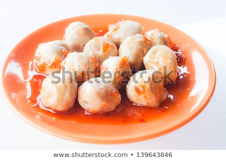 Mini pork balls in wood stick on clean table Stock photo © punsayaporn