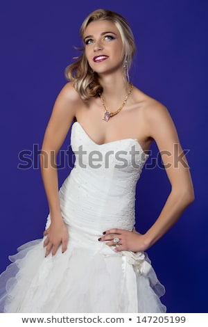 beautiful bride open arms wearing in gorgeous wedding dress fas stock photo © victoria_andreas