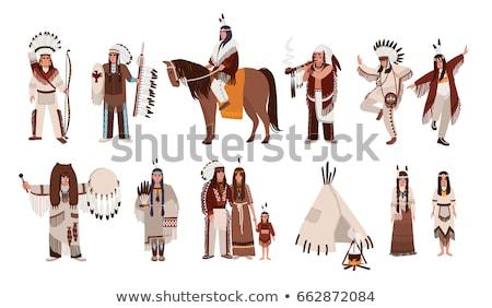 tambourine american indians vector illustration stock photo © konturvid