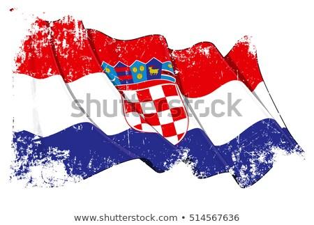 Grunge bayrak Hırvatistan grunge texture arka plan Stok fotoğraf © tintin75