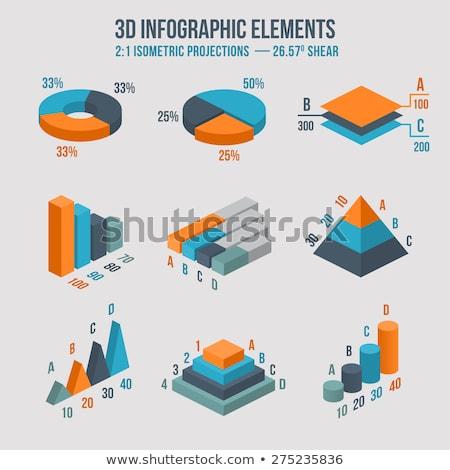 üzlet izometrikus diagram ikonok sablon elrendezés Stock fotó © Anna_leni