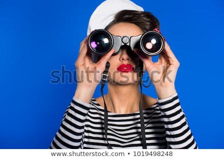 Matroos vrouw aantrekkelijk meisje jacht zomer dag Stockfoto © gabor_galovtsik
