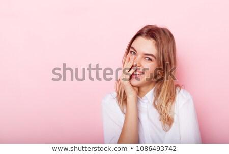 портрет красивая женщина темные волосы улыбаясь камеры серый Сток-фото © juniart