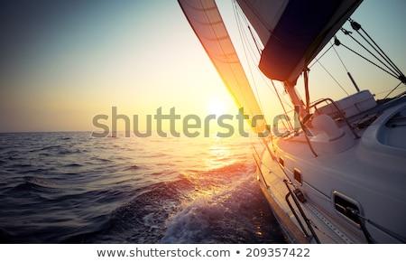 yelkencilik · tekne · fırtınalı · deniz · ufuk · karanlık - stok fotoğraf © stevanovicigor