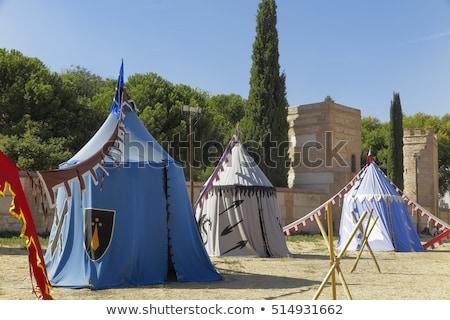 Tarihsel ortaçağ kamp çadır kırmızı sarı Stok fotoğraf © flariv