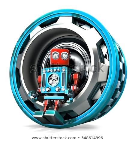 Foto stock: Engenheiro · robô · tecnologia · isolado · branco