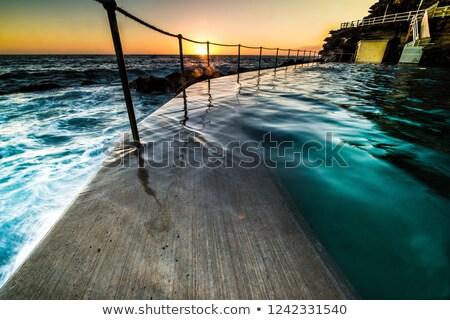 プール 夜明け 階段 ダウン 岩 ストックフォト © lovleah