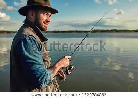 Mutlu adam balık tutma oğul tekne bahar Stok fotoğraf © wavebreak_media