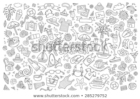 doodle vector set of summer vacation stock photo © netkov1