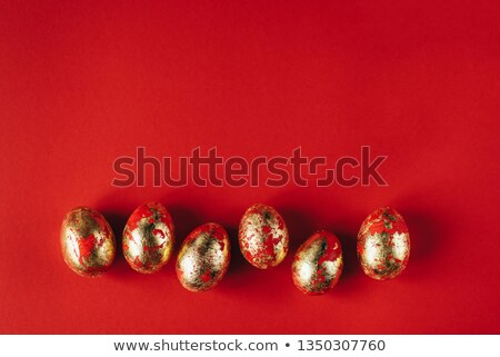 Six colorful hand decorated Easter eggs Stock photo © ozgur